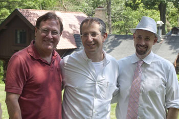 (From left) 2010 Fellow Bob Davis (Guthrie Theater), Master Teacher Barry Edelstein, and Ten Chimneys President Sean Malone enjoy a beautiful morning on the Ten Chimneys Estate.